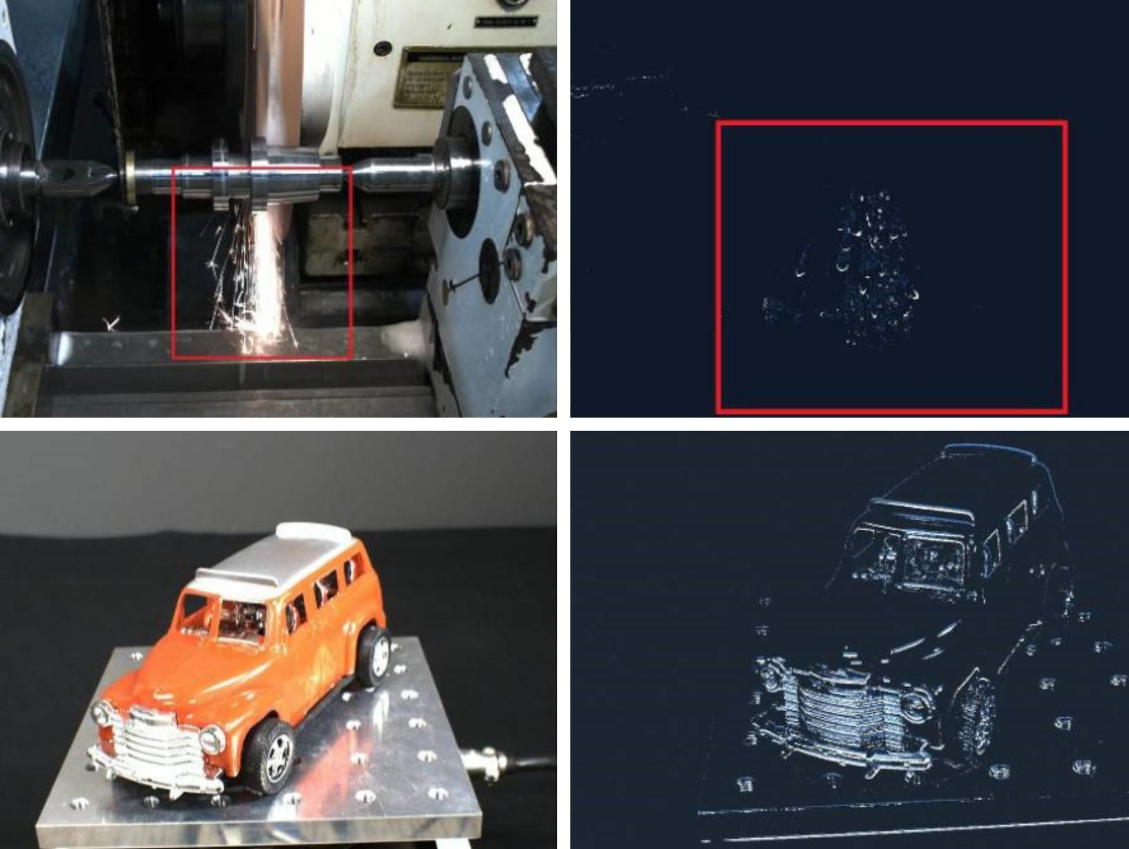 In the top left quadrant sparks fly from a rod-like machine. At top right, a red box encloses speckled droplets where the sparks from the first image would be on a field of black. In the bottom left quadrant a toy car sits on a metal plate with shot through with an array of drill holes. In the bottom right the outline of the car and the plate are visible on a field of black.