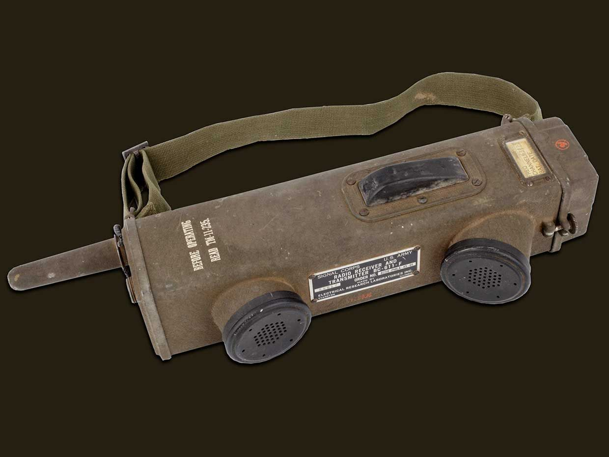 Introduced in 1942, the handheld SCR-536 was widely used by Allied soldiers during World War II.