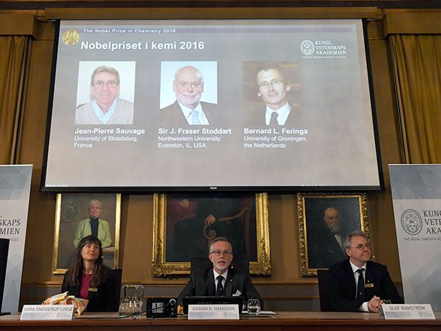 Jean-Pierre Sauvage, Fraser Stoddart and Bernard Feringa have been awarded the Nobel chemistry prize.