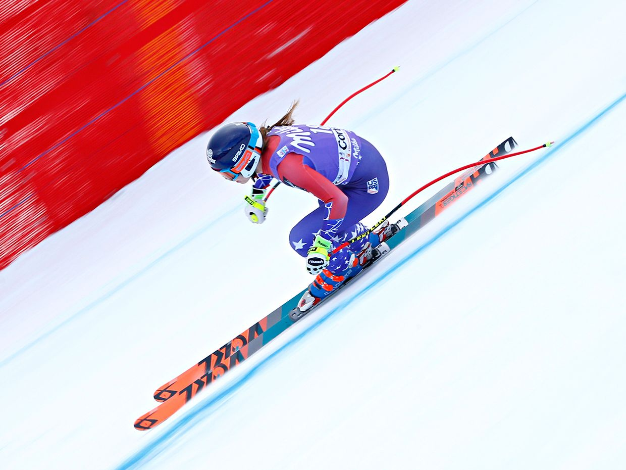 Laurenne Ross of USA in action during the Audi FIS Alpine Ski World Cup Women's Downhill on January 19, 2018 in Cortina d'Ampezzo, Italy.