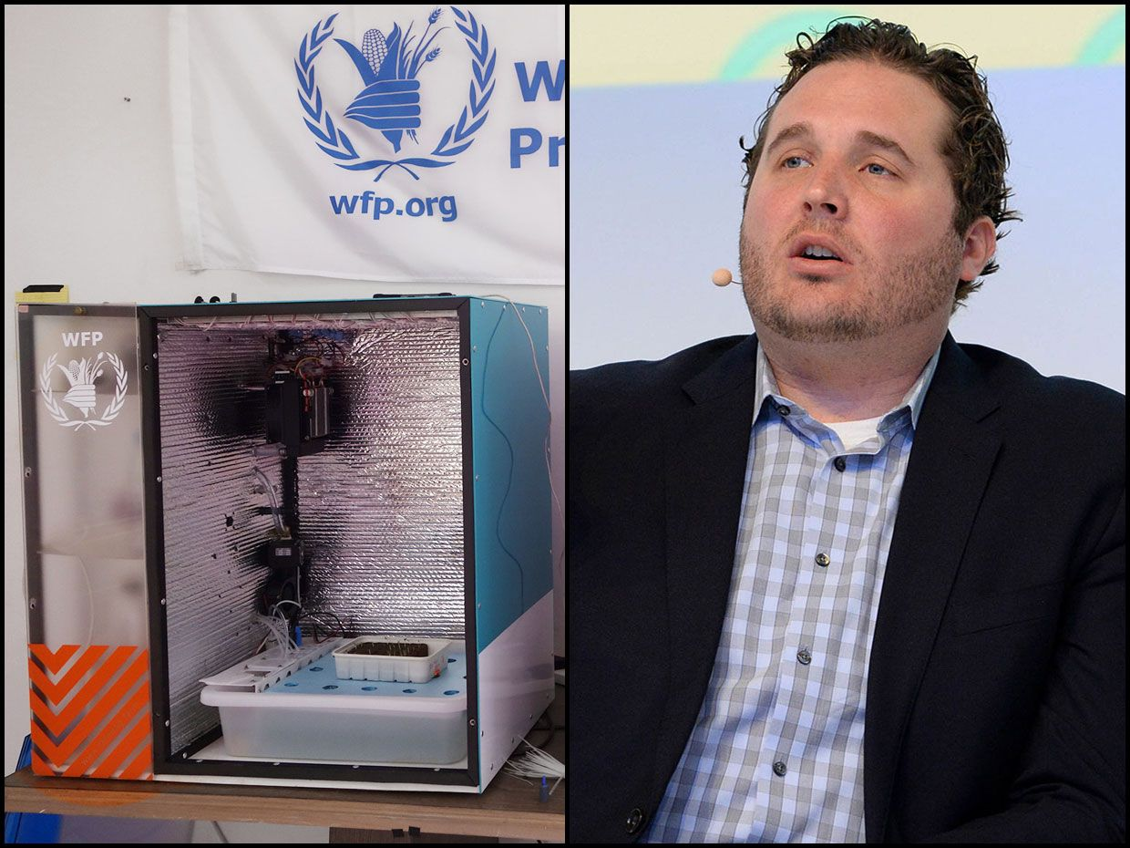 Left: A food computer at the World Food Programme office in Amman, Jordan. Right: Caleb Harper at DLD17 conference.