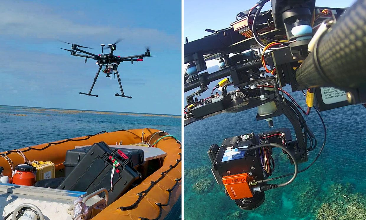 Left, AIMS boat shown as team prepares to trial the drone and hyperspectral camera on the Great Barrier Reef. Right: Hyperspectral camera mounted on drone.