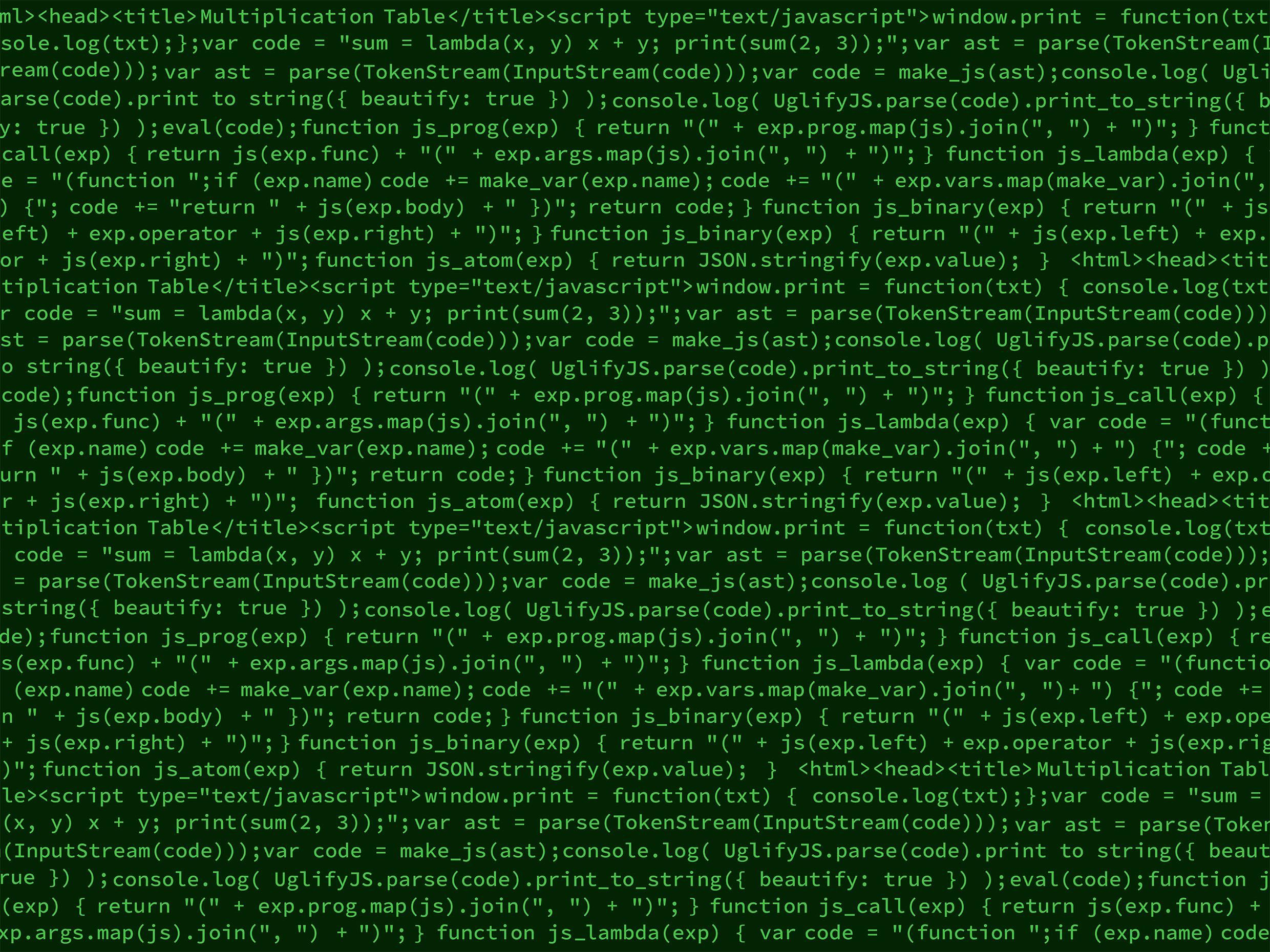 Line after line of green computer computer code