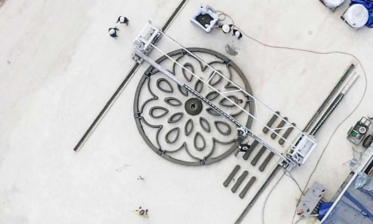 Lunar launch pad 3D printing test drone view.