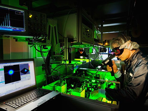 Man working on a petawatt laser at Institute of Radiation Physics at Helmholtz-Zentrum Dresden-Rossendorf (HZDR), in Germany.