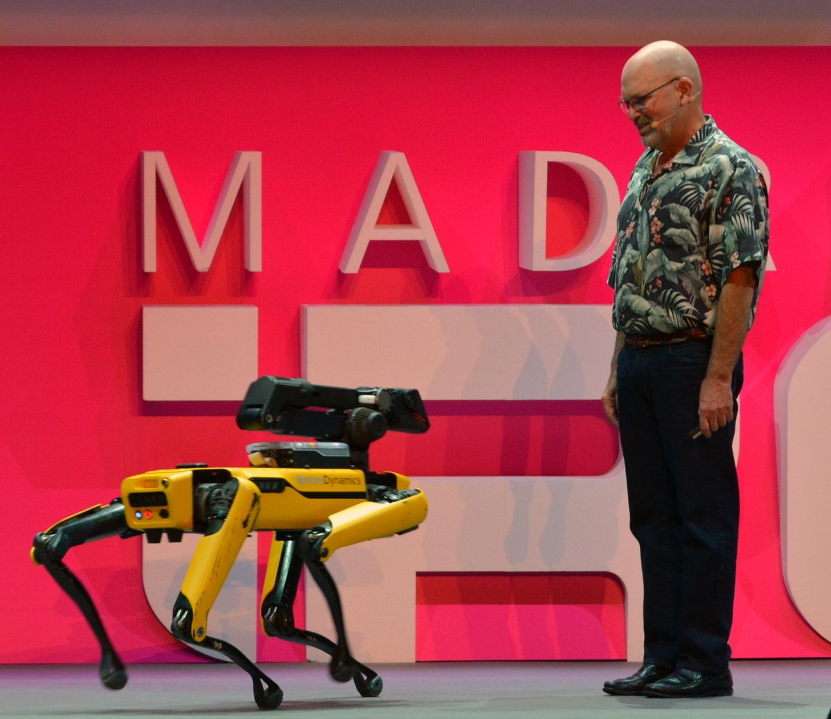 Marc Raibert with SpotMini robot from Boston Dynamics