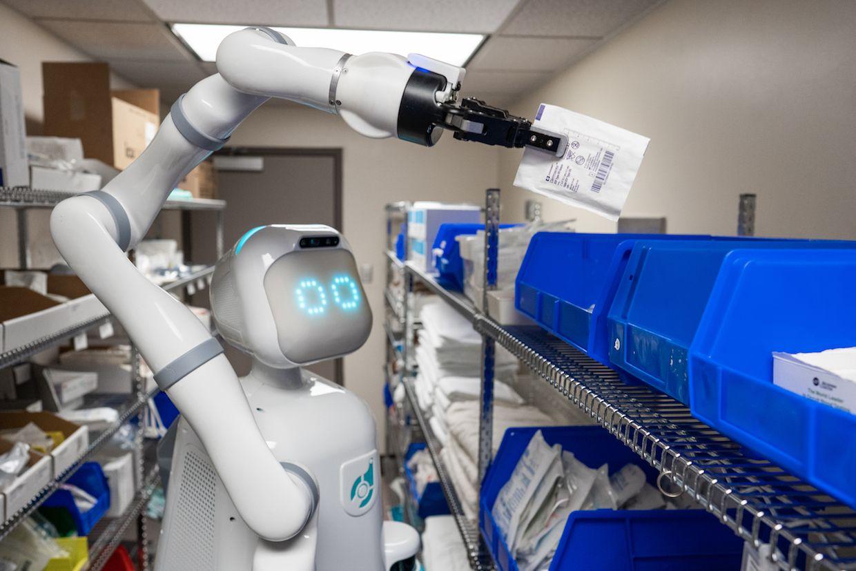Moxi, a mobile manipulation robot for hospitals developed by Diligent Robotics