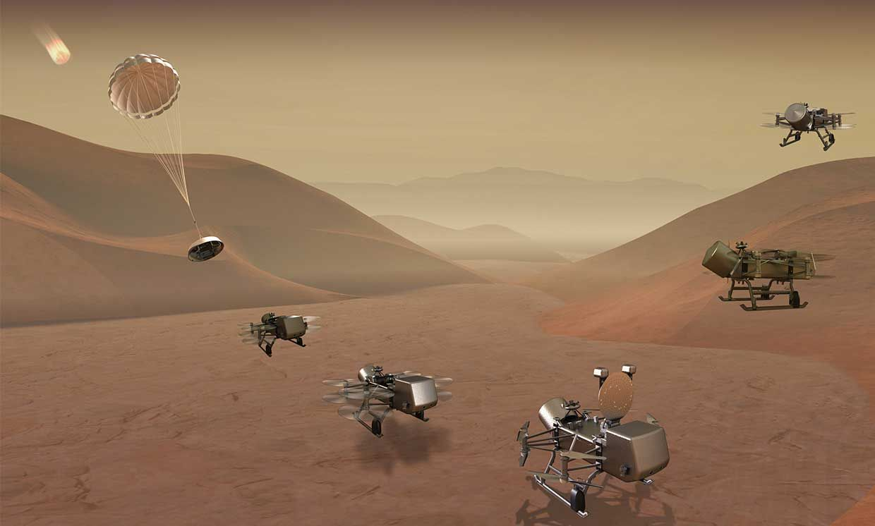 NASA's Dragonfly octocopter drone will explore the surface of Saturn's moon Titan and drill for signs of life there