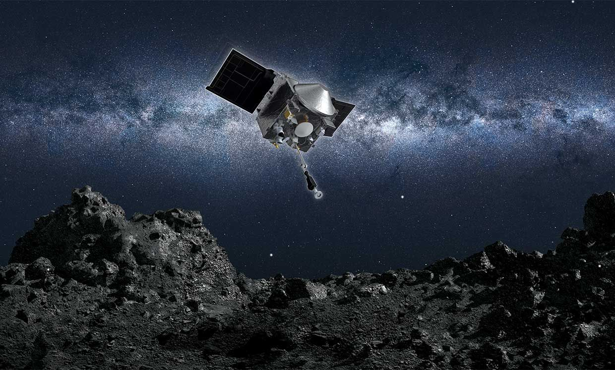 NASA's OSIRIS-REx spacecraft approaches asteroid 101955 Bennu to sample its regolith, as seen in an artist's conception.