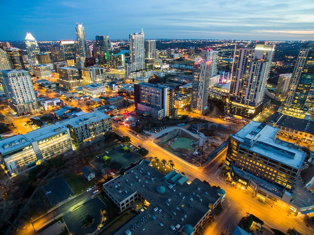 Night shot of Austin Texas from above