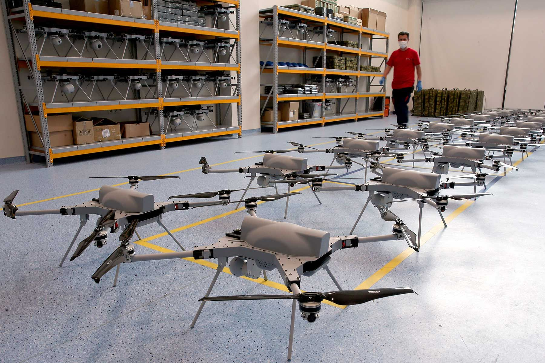 """Officials of Turkish defense industry company """"STM"""", work at Autonomous Rotary Wing Attack Drone UAV Kargu production to meet the needs of the security forces at the campus of OSTIM Technopark in Ankara, Turkey on June 11, 2020."""
