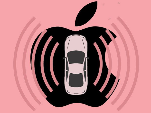 On a pink background a car illustration atop the Apple logo with hemicircular waves propagate from both sides of the car.