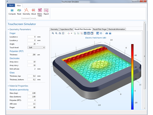 Optimizing touchscreen design with COMSOL Multiphysics