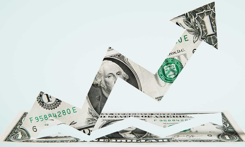 Paper-cut dollar - Upwards arrow