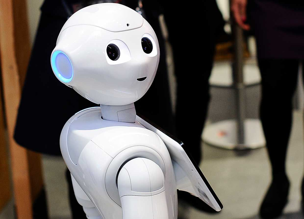 Pepper robot, interacting with the congress attendants at GSMA Innovation City, during the Mobile World Congress day 3, on February 28, 2018 in Barcelona, Spain.