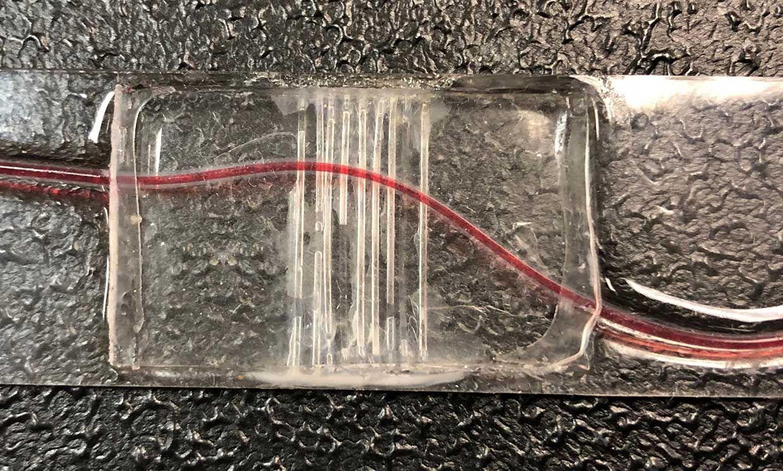 Phantom inner layer with bovine blood to mimic finger blood vessel.