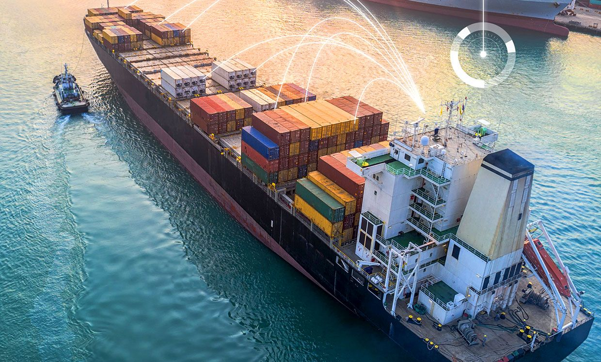 Photo-illustration of a cargo ship with lines indicating technological communication.