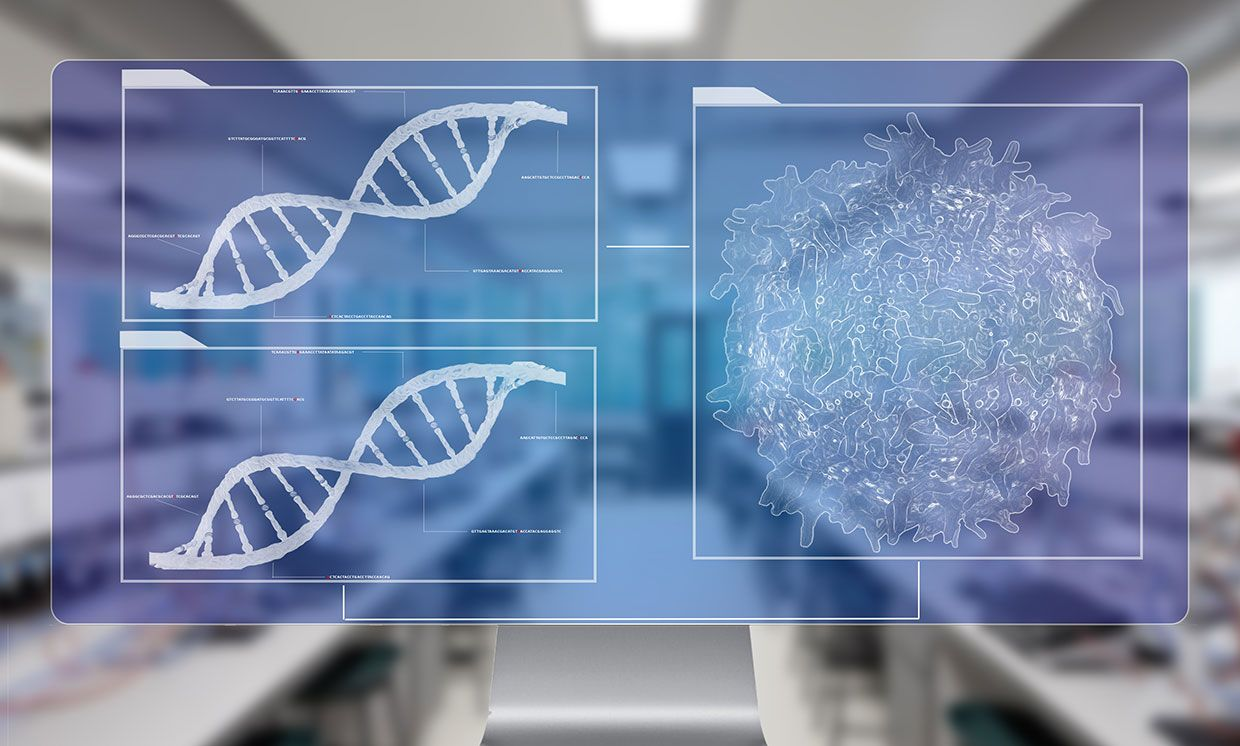 Photo-illustration of cancer cell lymphocyte T and DNA helix background sequencing on a computer in a lab
