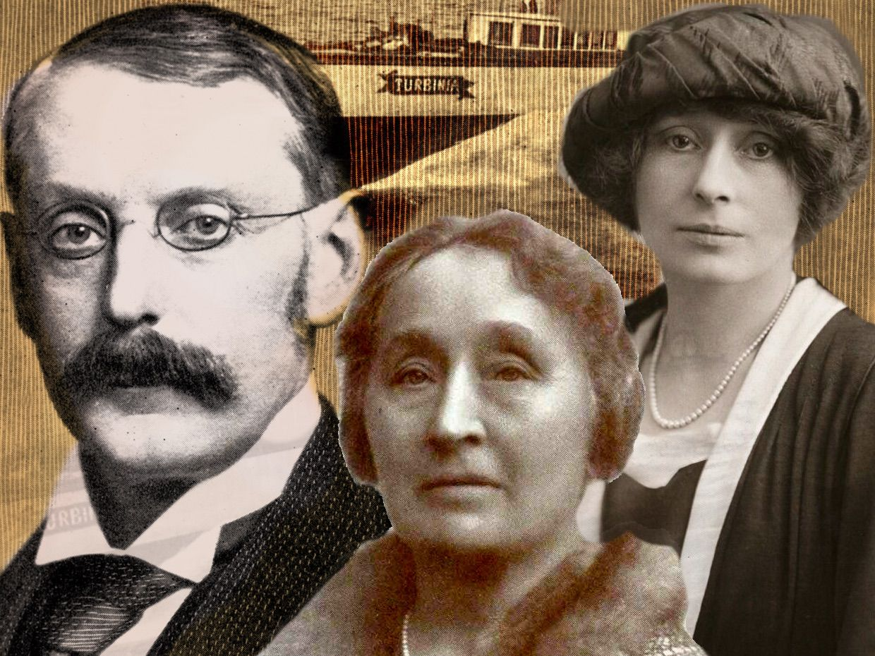 Photo-illustration of headshots of Charles Parsons, Katharine Parsons, and Rachel Parsons.