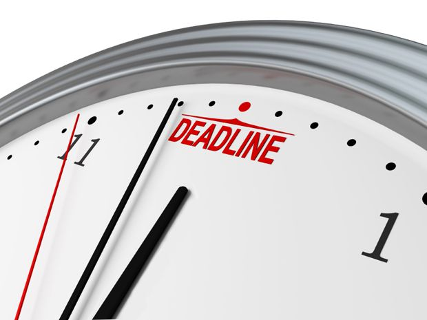 """Photo of a clock that says """"deadline."""""""