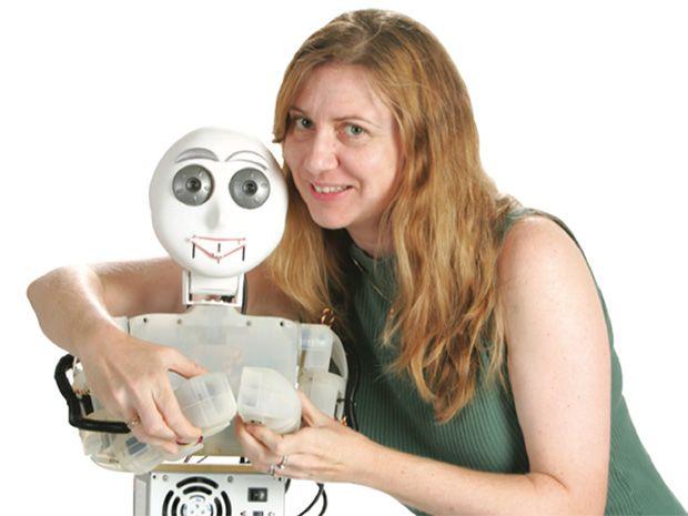photo of Maja Mataric ́ with robot