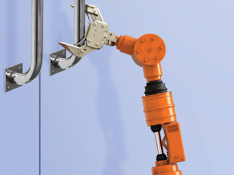 Photo of robot arm grabbing door handle.