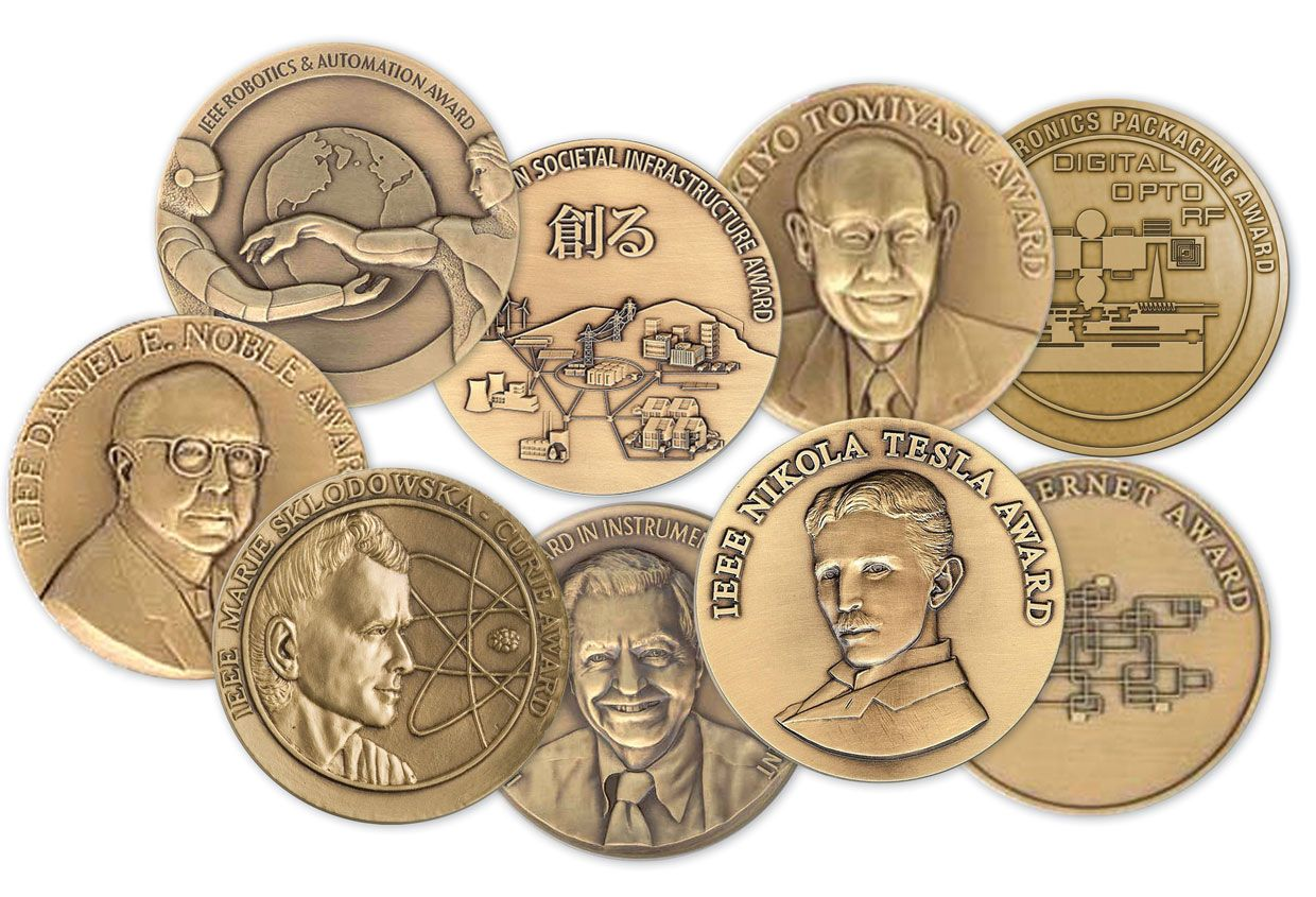 Photo of several IEEE medals.