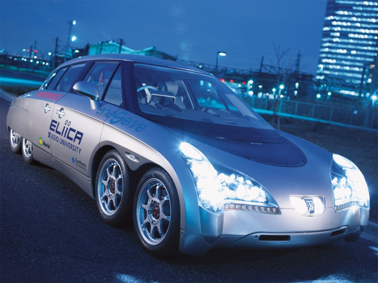 Photo of the Eliica electric car.
