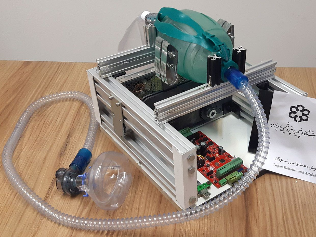 Photo of the low-cost and easy-to-build open source ventilator.