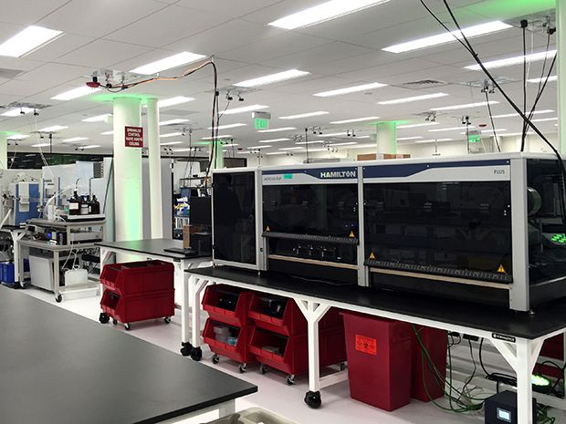 Photo shows the automated lab of Ginkgo Bioworks, a synthetic biology company