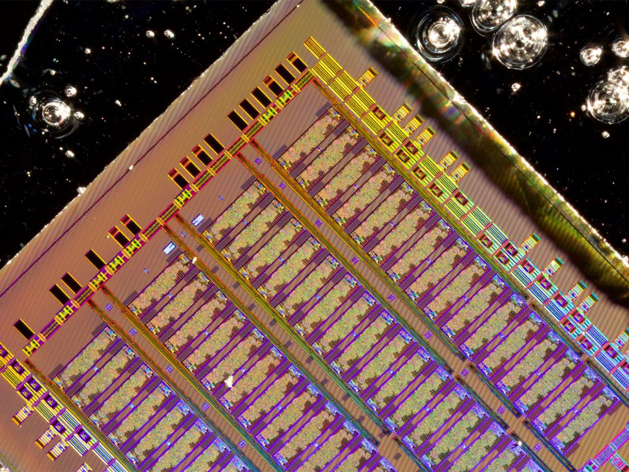 Photograph of the bulk silicon electronic-photonic chip designed by the MIT, UC Berkeley and Boston University team.