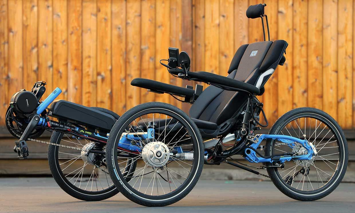 Photograph of the electrified DIY recumbent tricycle.
