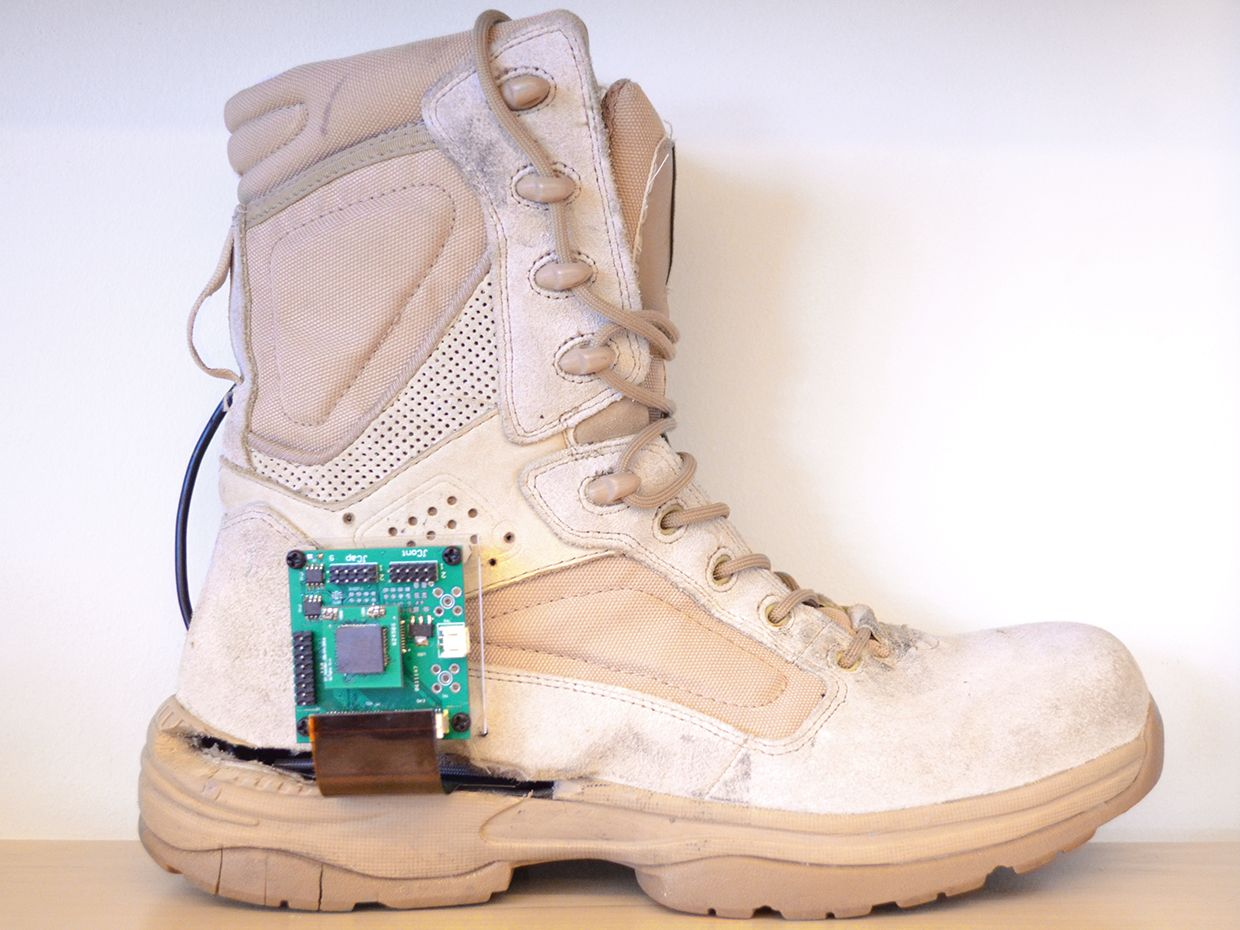 Photograph of the personal GPS boot created at the University of Utah.