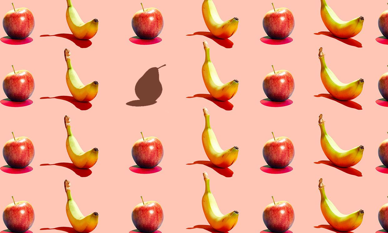 Photos of apples and bananas in a row, with one missing.