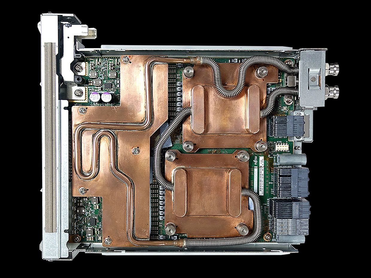 Prototype unit of two Arm8A-SVE water-cooled CPUs