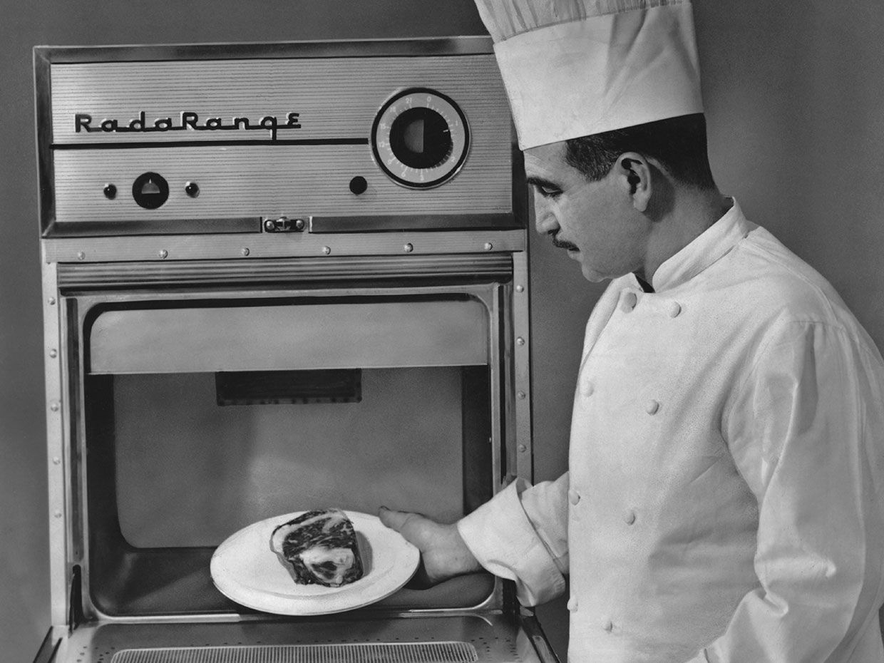 Raytheon's Radarange III microwave oven debuted in 1955 and was sold in limited quantities to restaurants.