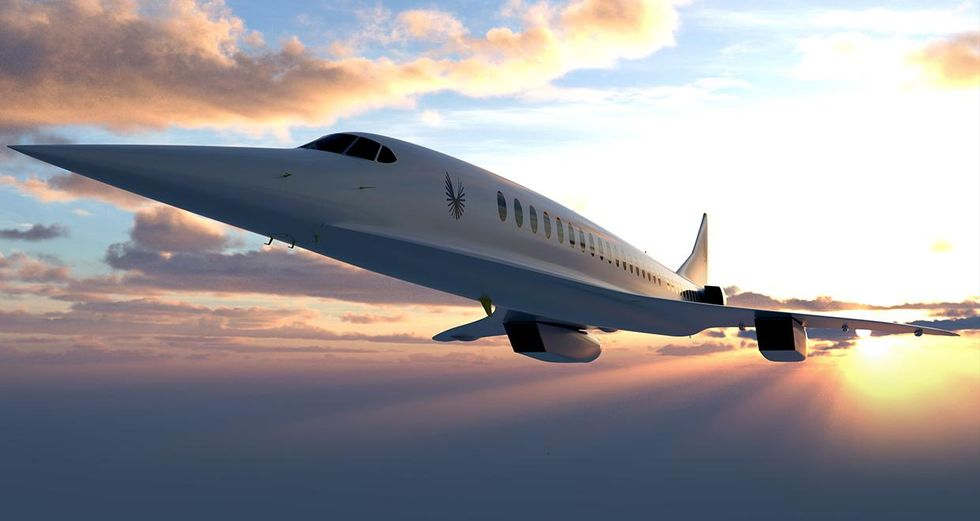 Rendering of Boom Technology's Overture airliner in the sky.