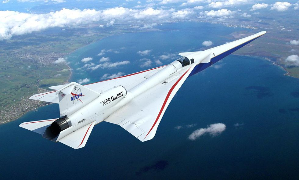 Rendering of NASA's X-59 aircraft flying in the sky.