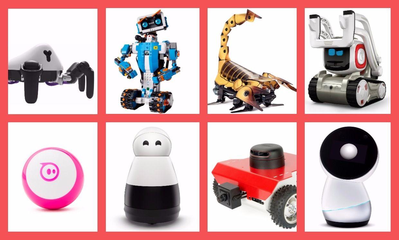 Robot gift ideas: Hexa spider robot; Lego Boost; Kamigami; Anki Cozmo; Mayfield's Kuri social robot; Husarion ROSbot; Jibo social robot