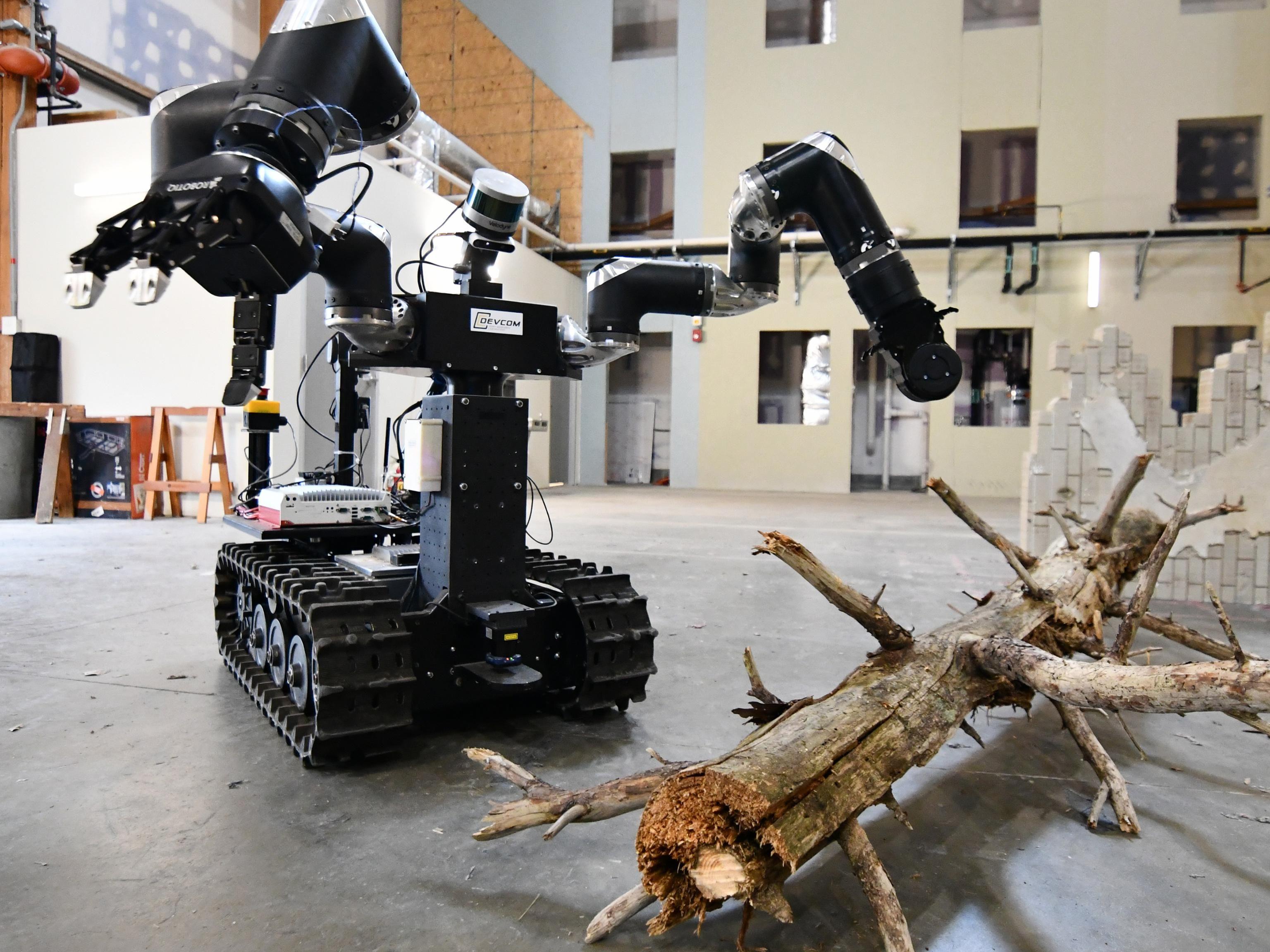 Robot with threads near a fallen branch