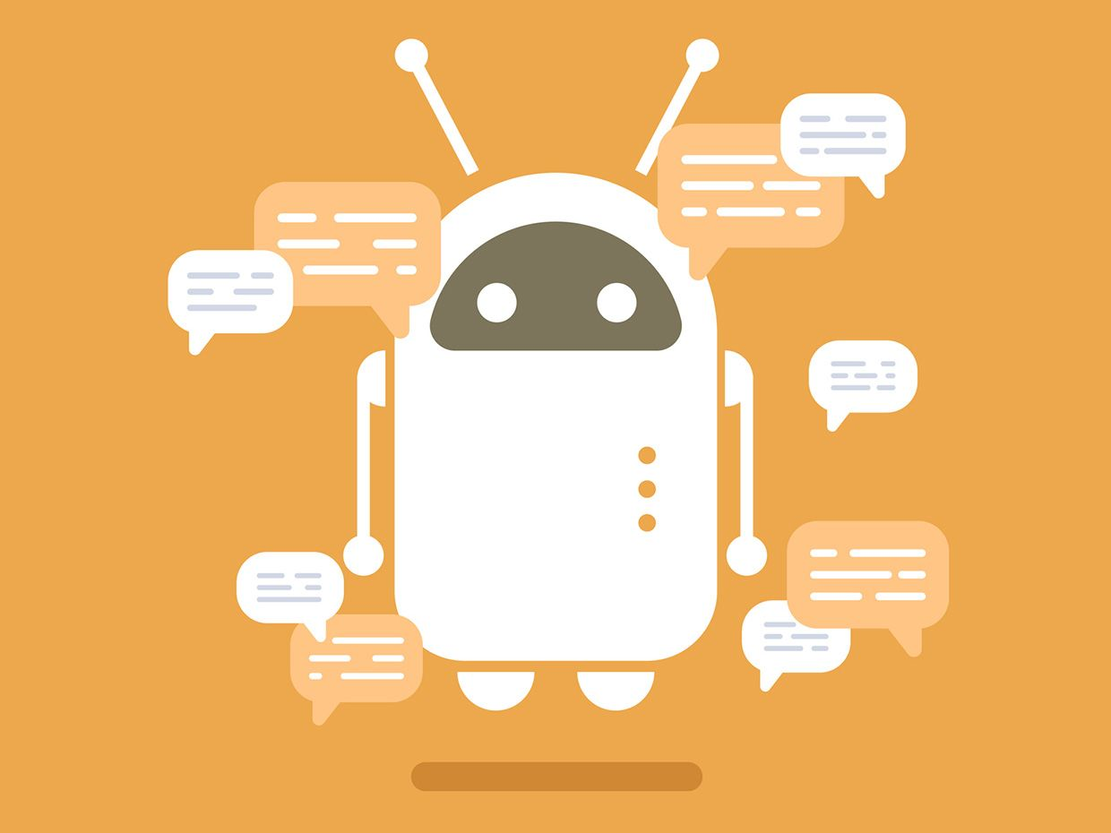 robot with word bubbles