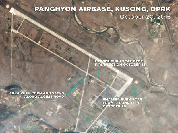 satellite image of North Korean airbase