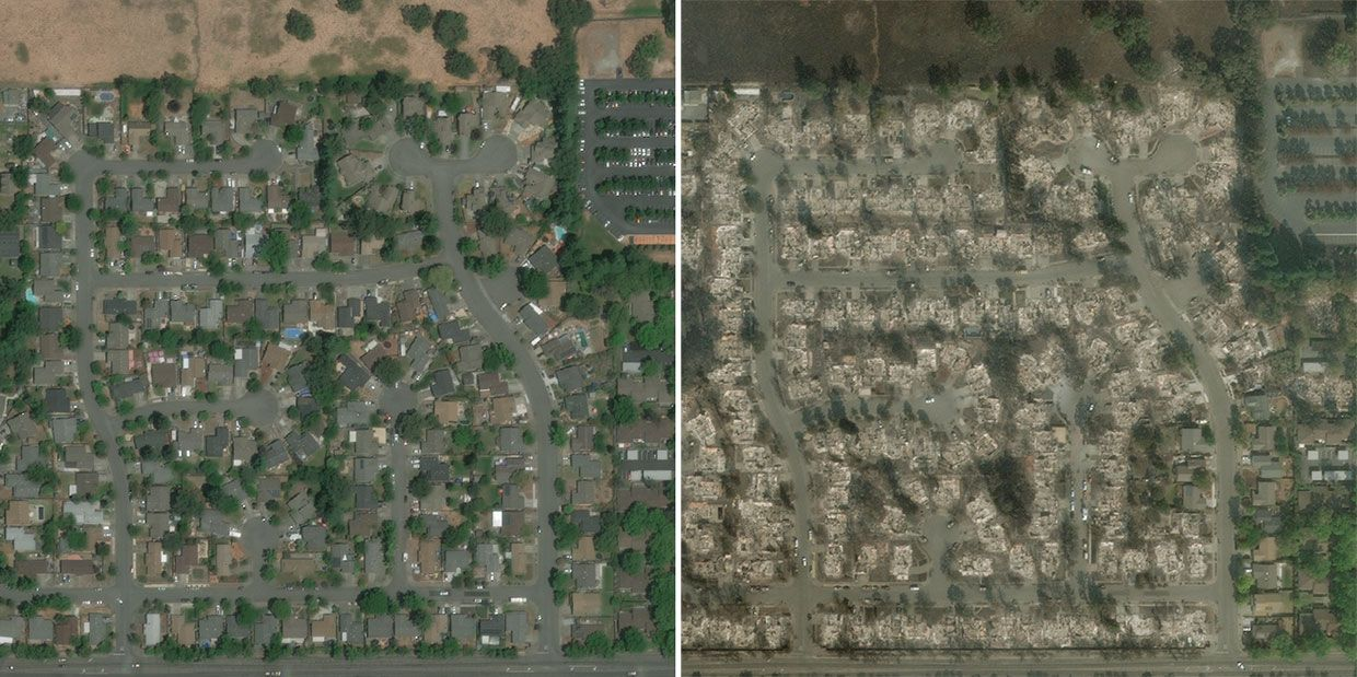 Satellite images from Digital Globe/MAXAR's Open Data Program showing buildings in Santa Rosa, CA before the Tubbs Fire (left), and after (right).