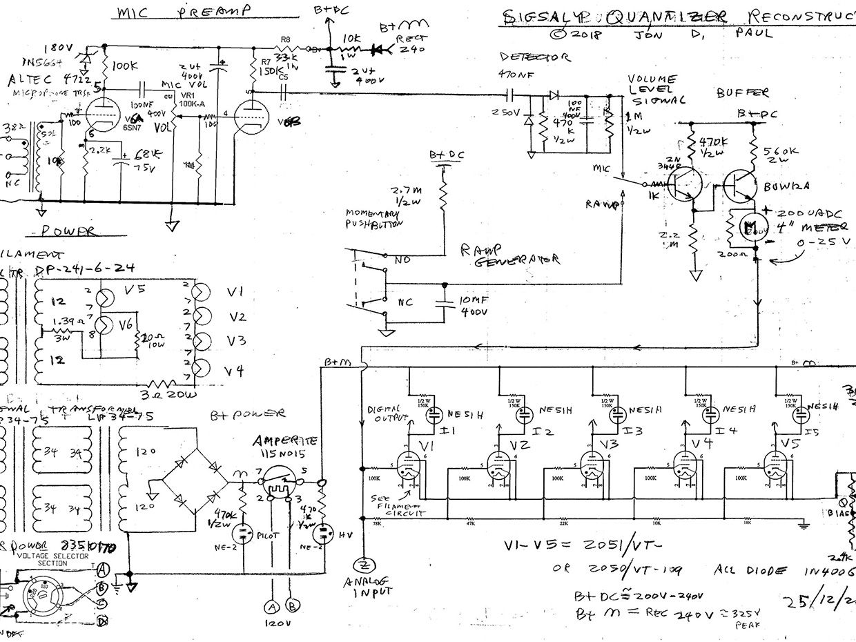 Schematic showing the complete details for the electronics in the SIGSALY converter reconstruction