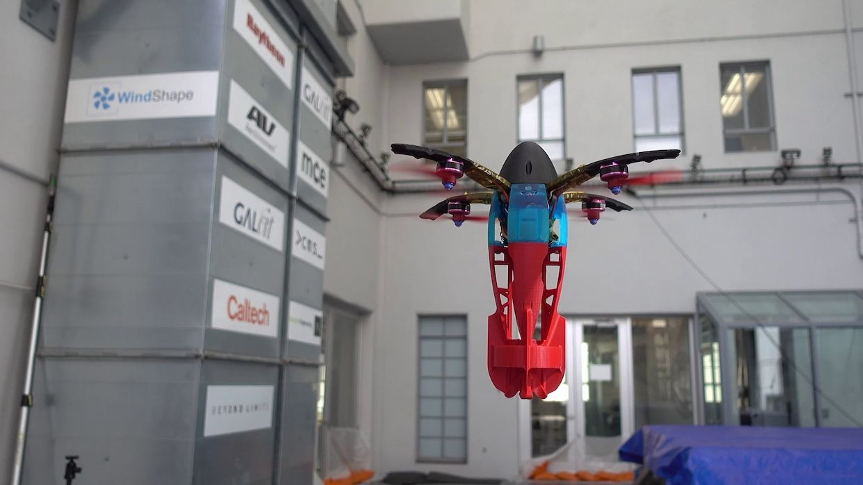SQUID, a foldable quadrotor that gets fired out of a cannon created by JPL and Caltech