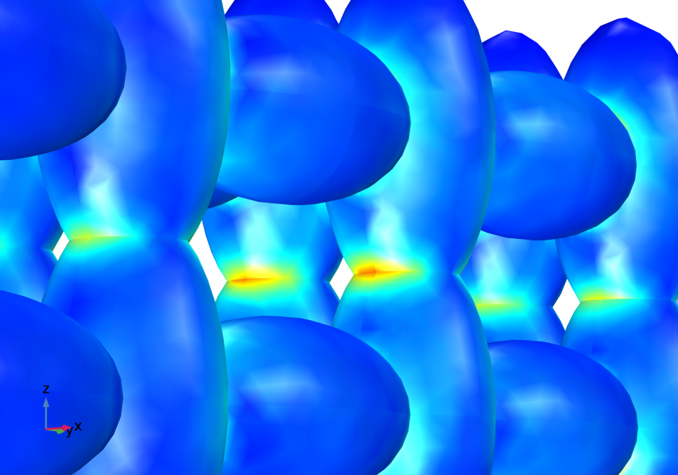 Stress concentration at the necks between particles in the negative electrode in a lithium battery model with a hypothetical structure consisting of ellipsoidal particles.