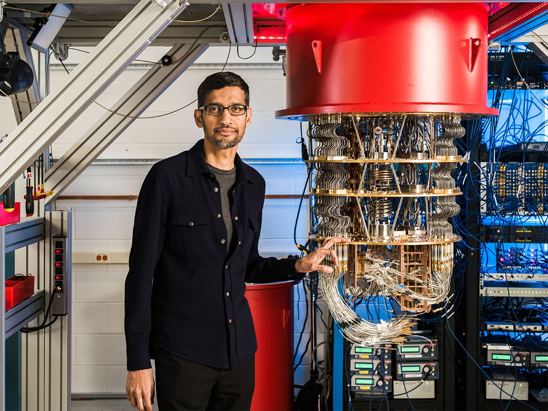 Sundar Pichai with one of Google's quantum computers in the Santa Barbara lab.