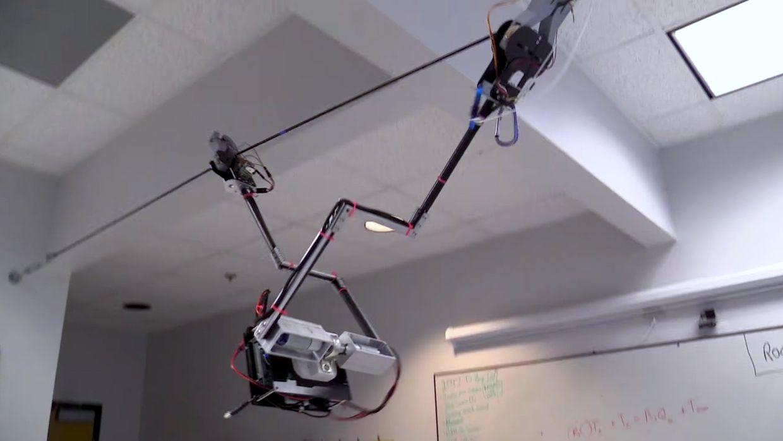 Tarzan robot can swing around on overhead wires