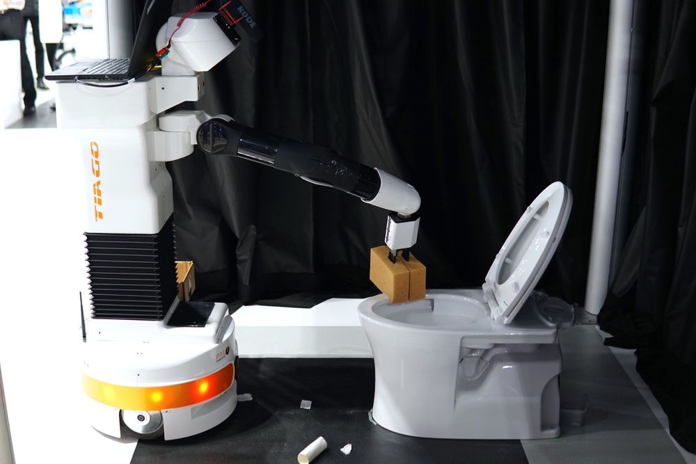 Team Homer teaches TIAGo to autonomously clean a toilet, and it's about time