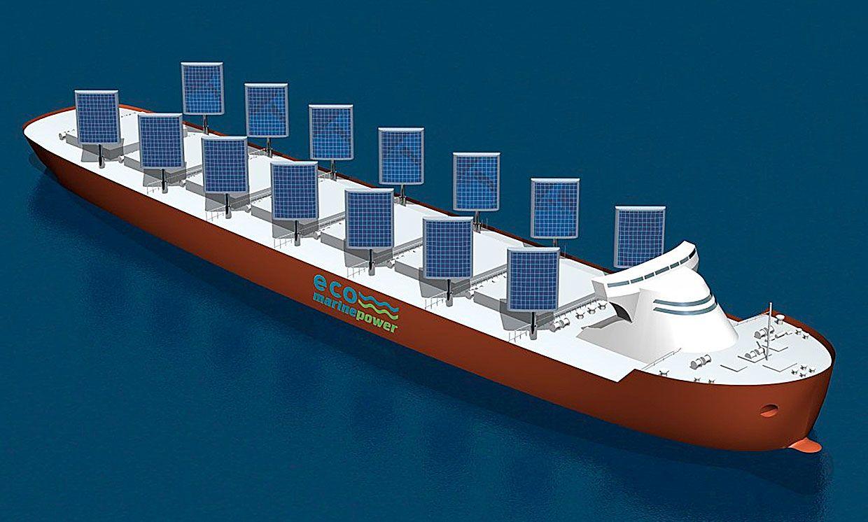 The Aquarius Eco Ship concept design includes rigid sails with solar panels to curb ships' fuel consumption.